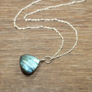 Labradorite Necklace, Blue Flash, Wire Wrap Pendant, Labradorite Jewelry, Gold Filled Or Sterling Silver