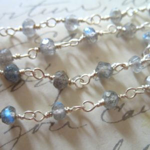 Shop Labradorite Rondelle Beads! 5 feet, Rosary Chain, Labradorite Rosary Chain, Silver or Gold Wire Wrapped Rondelle Chain, Gemstone Gem Chain rc.2 | Natural genuine rondelle Labradorite beads for beading and jewelry making.  #jewelry #beads #beadedjewelry #diyjewelry #jewelrymaking #beadstore #beading #affiliate #ad