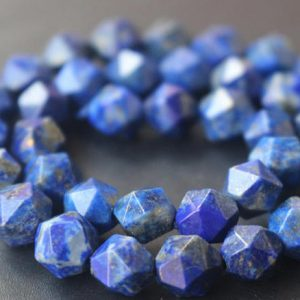Lapis Lazuli Star Cut Faceted Nugget Beads,6mm/8mm/10mm/12mm Faceted Lapis Lazuli Nugget Beads,15 Inches One Starand