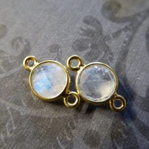 MOONSTONE Gemstone Connectors Links Charm Pendant / 7.5 mm Round / 24k Gold Plated or Sterling Silver Bezel Set Rim, GCL2.G gc | Natural genuine round Moonstone beads for beading and jewelry making.  #jewelry #beads #beadedjewelry #diyjewelry #jewelrymaking #beadstore #beading #affiliate #ad