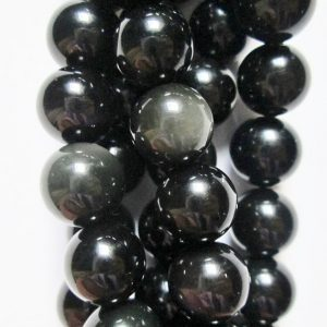 "Shop Obsidian Beads! Genuine Obsidian Rainbow Beads – Round 8 mm Gemstone Beads – Full Strand 15 1/2"", 48 beads, AA Quality 