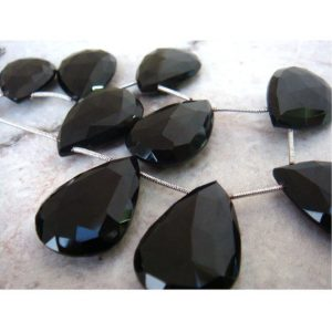 Black Onyx – Faceted Pear Shaped Briolettes – 26x18mm Approx – 9 Pieces