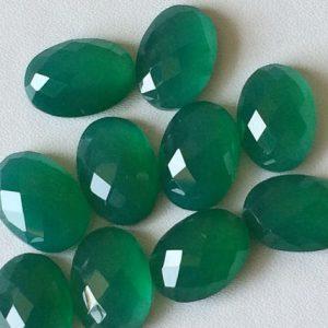 Green Onyx Oval Cabochons, Green Onyx Checker Cut Cabochons, Flat Back Green Onyx Cabs, 10x14mm, 5 Pieces