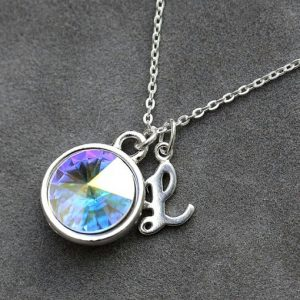 Opal Necklace, October Birthstone Jewelry, New Mother Mom Baby Gift, Opal Jewelry, Silver Initial Necklace