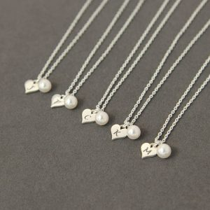 Personalized Bridesmaid Gift Necklace, Initial Heart Bridesmaid Necklace Set Of 9, Pearl Bridesmaid Jewelry Personalized Necklace Bridesmaid