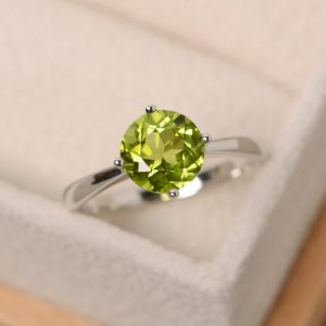 Solitaire  Ring, Natural Peridot Ring, Brilliant Rings, August Birthstone Ring, Sterling Silver, Peridot Gemstone
