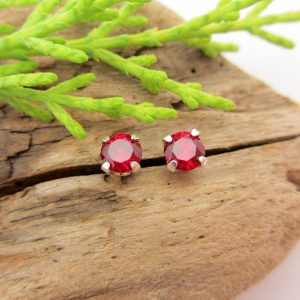 Red Ruby Studs – Lab Grown Ruby Stud Earrings in Real 14k Gold or Platinum Screw Backs – 5mm