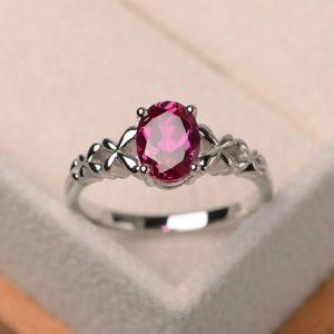 Anniversary Ring, Ruby Ring, Oval Cut Red Gemstone, July Birthstone Ring, Sterling Silver Ring