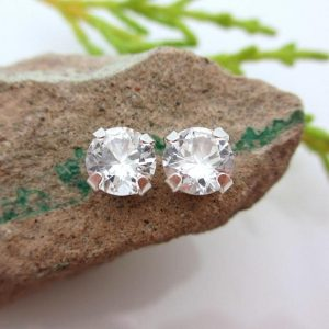 White Sapphire Studs – Lab Grown Sapphire Stud Earrings In Real 14k Gold, Sterling Silver, Or Platinum, 6mm