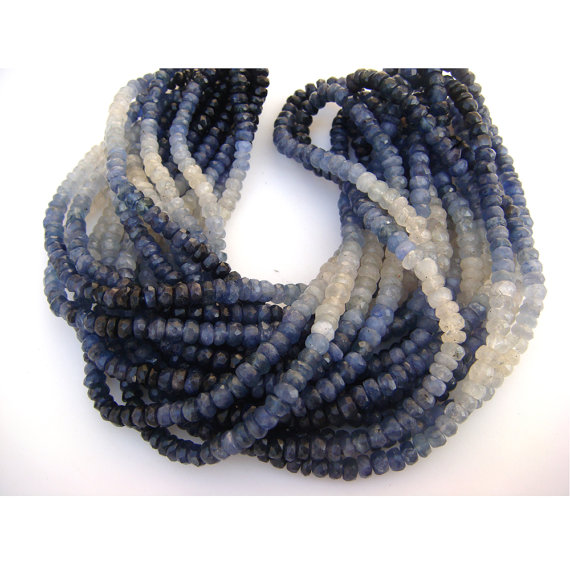 Blue Sapphire - Shaded Blue Sapphire Faceted Rondelles - 3mm To 5mm - 14 Inch Strand - 75 Ctw