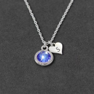 Shop Dainty Jewelry! Sapphire Necklace, Dainty Initial Necklace Sterling Silver Personalized New Mom Jewelry, September Birthstone Necklace | Natural genuine Gemstone jewelry. Buy crystal jewelry, handmade handcrafted artisan jewelry for women.  Unique handmade gift ideas. #jewelry #beadedjewelry #beadedjewelry #gift #shopping #handmadejewelry #fashion #style #product #jewelry #affiliate #ad