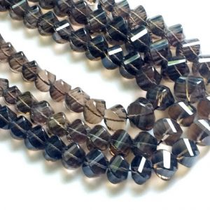 Smoky Quartz Beads, Smoky Quartz Twisted Nuggets, Smoky Quartz Necklace, 8mm – 10mm, 11 Pcs – Rama50