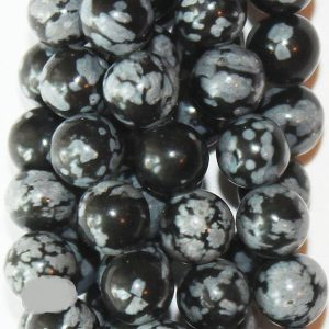 "Shop Snowflake Obsidian Beads! Genuine Snowflake Obsidian Beads – Round 6 mm Gemstone Beads – Full Strand 15 1/2"", 58 beads, A+ Quality 