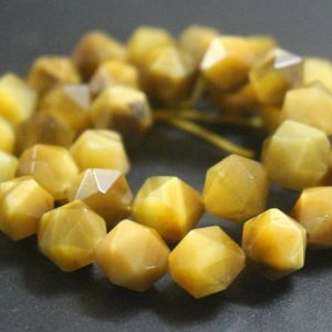 Shop Tiger Eye Beads! Natural Golden Tigereye Faceted Beads,Natural Faceted Gold Tigereye Nugget Beads,15 inches one starand | Natural genuine beads Tiger Eye beads for beading and jewelry making.  #jewelry #beads #beadedjewelry #diyjewelry #jewelrymaking #beadstore #beading #affiliate #ad