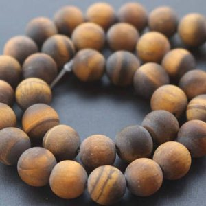 Shop Tiger Eye Round Beads! 6mm/8mm/10mm/12mm Matte Yellow Tigereye Round Beads,15 inches one starand | Natural genuine round Tiger Eye beads for beading and jewelry making.  #jewelry #beads #beadedjewelry #diyjewelry #jewelrymaking #beadstore #beading #affiliate