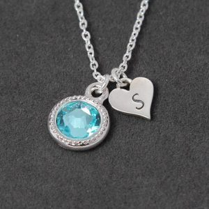 Personalized Initial Necklace, December Birthstone Jewelry, Blue Topaz Necklace, Sterling Silver Mothers Necklace, Gift Heart Jewelry