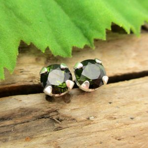 Black Green Tourmaline Studs – Genuine Tourmaline Stud Earrings in Real 14k Gold or Platinum Screw Backs – 3mm, 4mm