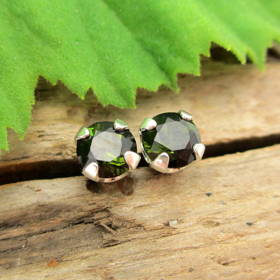 Black Green Tourmaline Studs - Genuine Tourmaline Stud Earrings In Real 14k Gold Or Platinum Screw Backs - 3mm, 4mm