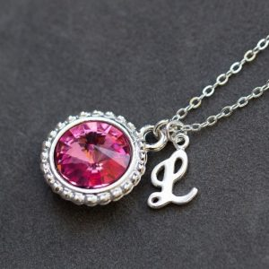 Pink Tourmaline Necklace, October Birthstone Jewelry, Rose Pink Crystal, Custom Birthstone Initial Necklace