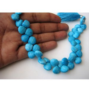 Turquoise Brilolete Beads/ Faceted Heart Briolette/ Chinese Turquoise – 11x11mm Each, 40 Pieces Approx, 8 Inch Strand