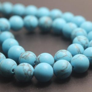 Shop Turquoise Round Beads! 6mm / 8mm / 10mm / 12mm Matte Turquoise Round Stone Beads, 15 Inches One Starand | Natural genuine round Turquoise beads for beading and jewelry making.  #jewelry #beads #beadedjewelry #diyjewelry #jewelrymaking #beadstore #beading #affiliate #ad
