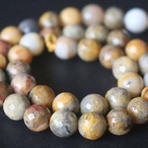 Shop Crazy Lace Agate Beads! 128 Faceted Yellow Crazy Lace Agate Round Beads,6mm/8mm/10mm/12mm Gemstone Beads Supply,15 inches one starand | Natural genuine beads Agate beads for beading and jewelry making.  #jewelry #beads #beadedjewelry #diyjewelry #jewelrymaking #beadstore #beading #affiliate #ad