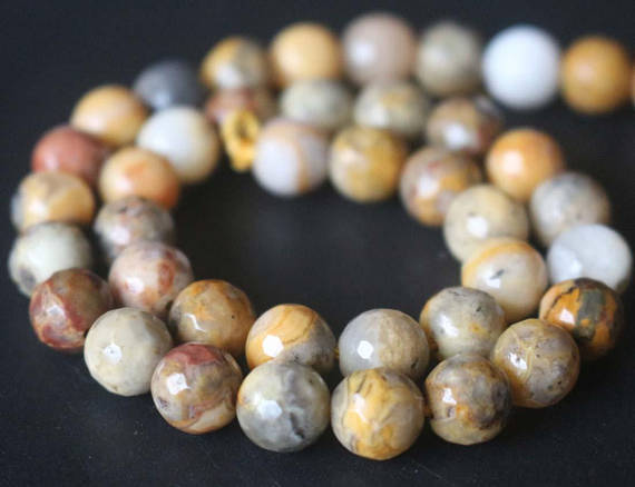 128 Faceted Yellow Crazy Lace Agate Round Beads,6mm/8mm/10mm/12mm Gemstone Beads Supply,15 Inches One Starand