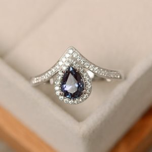 Shop Alexandrite Rings! Alexandrite Ring, Pear Cut, Silver, Engagement Ring | Natural genuine Alexandrite rings, simple unique alternative gemstone engagement rings. #rings #jewelry #bridal #wedding #jewelryaccessories #engagementrings #weddingideas #affiliate #ad