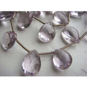 Shop Amethyst Faceted Beads! Pink Amethyst – Pink Amethyst Pear Shaped Faceted Briolettes 8x11mm – 9 Pieces | Natural genuine faceted Amethyst beads for beading and jewelry making.  #jewelry #beads #beadedjewelry #diyjewelry #jewelrymaking #beadstore #beading #affiliate