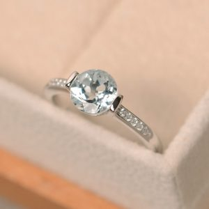 Aquamarine ring, engagement ring, aquamarine | Natural genuine Array rings, simple unique alternative gemstone engagement rings. #rings #jewelry #bridal #wedding #jewelryaccessories #engagementrings #weddingideas #affiliate #ad