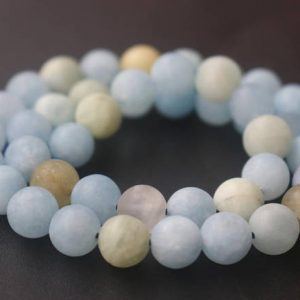Natural Aa Matte Aquamarine Round Beads, 6mm / 8mm / 10mm / 12mm Matte Aquamarine Beads, 15 Inches One Starand | Natural genuine round Aquamarine beads for beading and jewelry making.  #jewelry #beads #beadedjewelry #diyjewelry #jewelrymaking #beadstore #beading #affiliate #ad