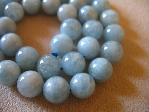 2-12 Pcs, Aquamarine Round Beads, 10.25 Mm, Luxe Aaa, Light Aqua Blue Green Beads, Smooth..march Birthstone..roundgems10 Solo