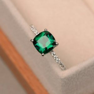 Emerald ring, engagement ring, green gemstone ring, cushion cut emerald, sterling silver | Natural genuine Gemstone rings, simple unique alternative gemstone engagement rings. #rings #jewelry #bridal #wedding #jewelryaccessories #engagementrings #weddingideas #affiliate #ad