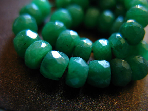 10 Pcs, Emerald Rondelles Beads, Luxe Aaa, 3-4 Mm, Emerald Kelly Green May Birthstone Brides Bridal Dyed True Der Tr E