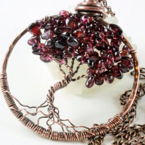 Shop Garnet Necklaces! Red Garner Tree of Life Pendant Necklace Copper wire wrapped natural gemstone talisman amulet boho statement January birthstone gift for her | Natural genuine Garnet necklaces. Buy crystal jewelry, handmade handcrafted artisan jewelry for women.  Unique handmade gift ideas. #jewelry #beadednecklaces #beadedjewelry #gift #shopping #handmadejewelry #fashion #style #product #necklaces #affiliate #ad