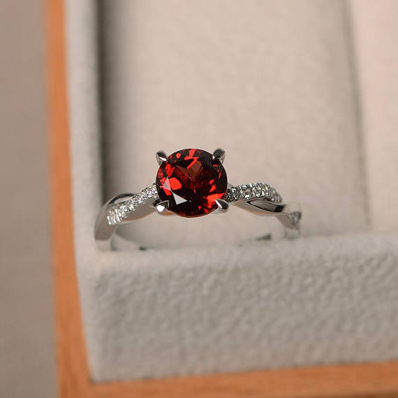 Engagement Rings, Natural Garnet Rings, January Birthstone, Round Cut Red Gemstone, Sterling Silver Rings, Lovely Rings