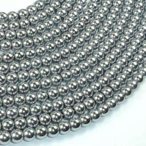 Shop Hematite Round Beads! Hematite Beads-Silver, 6mm Round Beads, 16 Inch, Full strand, Approx 74 beads, Hole 1mm, AA quality (269054011) | Natural genuine round Hematite beads for beading and jewelry making.  #jewelry #beads #beadedjewelry #diyjewelry #jewelrymaking #beadstore #beading #affiliate #ad