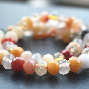 5x8mm Natural Faceted Mixcolor Jasper Rondelle Beads,15 Inches One Starand