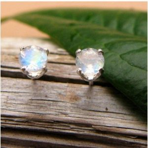 Shop Moonstone Earrings! Blue Moonstone Screw Back Stud Earrings in Gold or Platinum with Genuine Gems – 4mm | Natural genuine Moonstone earrings. Buy crystal jewelry, handmade handcrafted artisan jewelry for women.  Unique handmade gift ideas. #jewelry #beadedearrings #beadedjewelry #gift #shopping #handmadejewelry #fashion #style #product #earrings #affiliate #ad