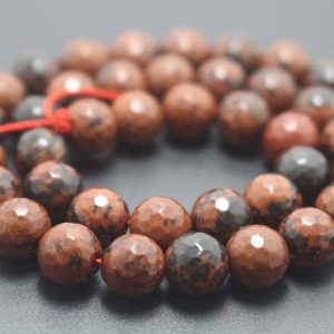 128 Faceted Mahogany Obsidian Beads,6mm/8mm/10mm/12mm Faceted Beads Supply ,15 Inches One Starand