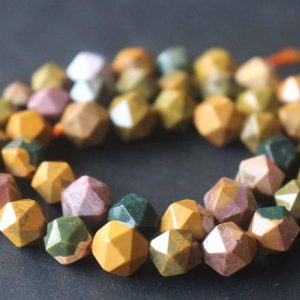 Shop Ocean Jasper Beads! Natural Faceted Ocean Jasper Star Cut Nugget Beads, 6mm / 8mm / 10mm / 12mm Ocean Jasper Beads Supply, 15 Inches One Starand | Natural genuine beads Ocean Jasper beads for beading and jewelry making.  #jewelry #beads #beadedjewelry #diyjewelry #jewelrymaking #beadstore #beading #affiliate