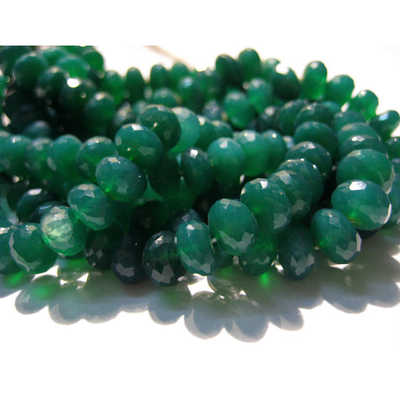 8mm Green Onyx Faceted Rondelle Beads, Natural Green Onyx Faceted Beads, Green Onyx Faceted Bead For Jewelry (4in To 8in Options) - Gofb1