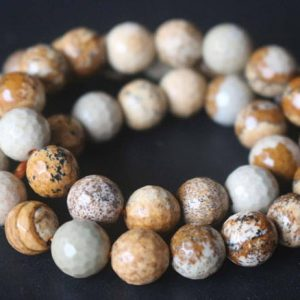 Shop Picture Jasper Faceted Beads! 128 Faceted Picture Jasper Beads, 6mm / 8mm / 10mm / 12mm Faceted Round Jasper Beads Supply, 15 Inches One Starand | Natural genuine faceted Picture Jasper beads for beading and jewelry making.  #jewelry #beads #beadedjewelry #diyjewelry #jewelrymaking #beadstore #beading #affiliate #ad