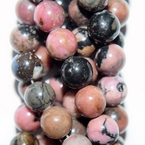 "Shop Rhodonite Beads! Genuine Black Veined Rhodonite Beads – Round 8 mm Gemstone Beads – Full Strand 15 1/2"", 47 beads, A+ Quality 