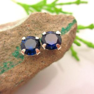 Shop Sapphire Earrings! Dark Blue-Black Sapphire Studs – Genuine Lab Grown Blue-Black Sapphire Stud Earrings in Real 14k Gold, Sterling Silver, or Platinum – 6mm | Natural genuine Sapphire earrings. Buy crystal jewelry, handmade handcrafted artisan jewelry for women.  Unique handmade gift ideas. #jewelry #beadedearrings #beadedjewelry #gift #shopping #handmadejewelry #fashion #style #product #earrings #affiliate #ad