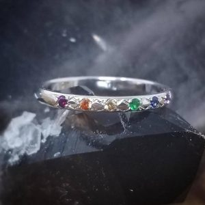 Shop Unique Sapphire Engagement Rings! Rainbow Wedding Band Rainbow Wedding Bands Women Rainbow Wedding Ring Women LGBT Wedding Band LGBT Engagement Ring 14K Rainbow Sapphire Ring | Natural genuine Sapphire rings, simple unique alternative gemstone engagement rings. #rings #jewelry #bridal #wedding #jewelryaccessories #engagementrings #weddingideas #affiliate #ad