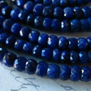 Shop Sapphire Rondelle Beads! 10-50 pcs / SAPPHIRE Beads Rondelle Gems Gemstones / Medium to Dark Blue, 3.5-4 mm, Dyed Luxe AAA / september birthstone dsa tr s 34 | Natural genuine rondelle Sapphire beads for beading and jewelry making.  #jewelry #beads #beadedjewelry #diyjewelry #jewelrymaking #beadstore #beading #affiliate #ad