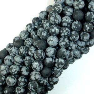Matte Snowflake Obsidian, 6mm (6.5mm) Round Beads, 15 Inch, Full Strand, Approx 61 Beads, Hole 1 Mm (410054011)