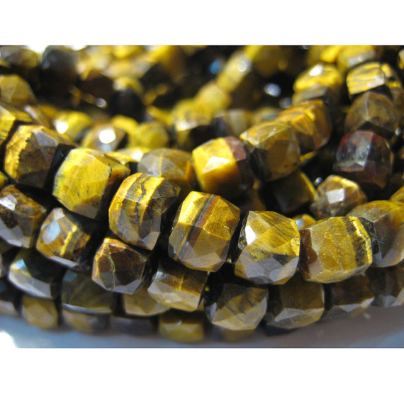 7mm Tiger's Eye Cube Beads, Natural Tiger's Eye Faceted Box Beads, Tiger's Eye For Necklace, Tiger's Eye Box Beads (4in To 8in Options)