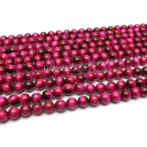 Shop Tiger Eye Round Beads! Rose Pink Tiger Eye Beads, Round Rose Dark Pink Tigers Eye Beads, Dark Pink Gemstone Beads, 6mm 8mm 10mm Hot Pink Bead for Handmade | Natural genuine round Tiger Eye beads for beading and jewelry making.  #jewelry #beads #beadedjewelry #diyjewelry #jewelrymaking #beadstore #beading #affiliate #ad